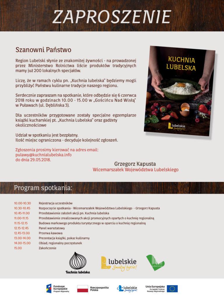 zaproszenie kuchnia lubelska